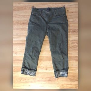 NYDJ olive green lift tuck technology capris